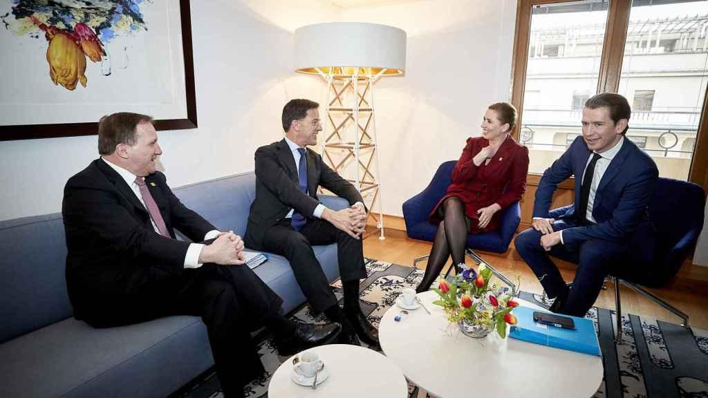 El club de los frugales en una reunión en Bruselas en febrero.