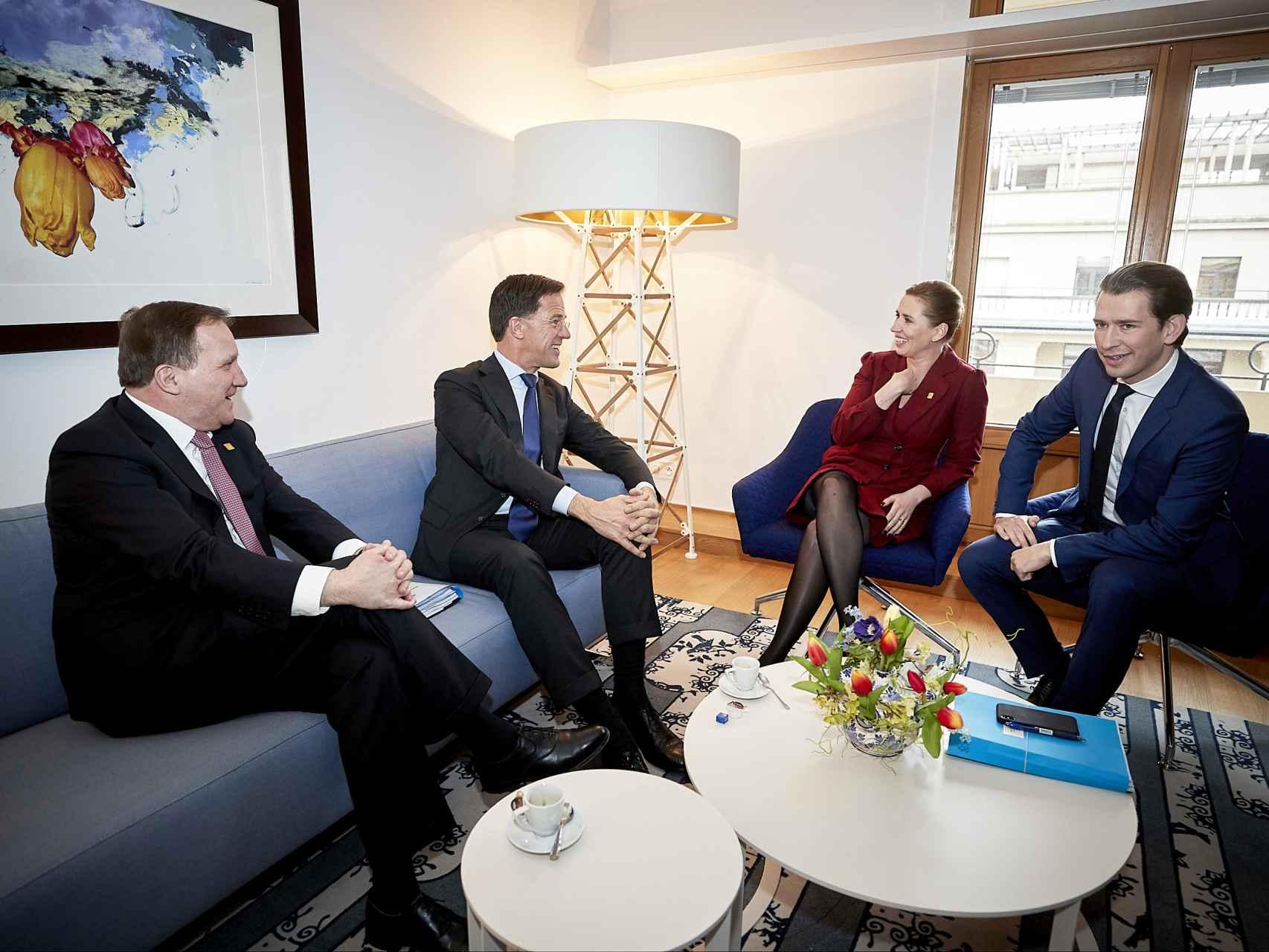 El club de los frugales en una reunión en Bruselas en febrero: Stefan Lofven, Mark Rutte, Mette Frederiksen y Sebastian Kurz.