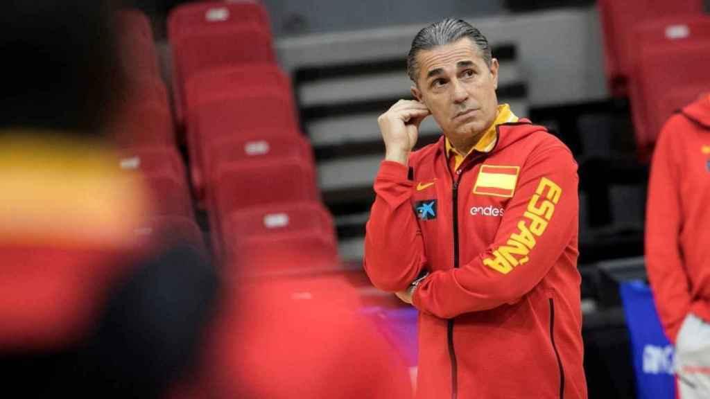 Scariolo, durante una sesión de entrenamiento de la Selección