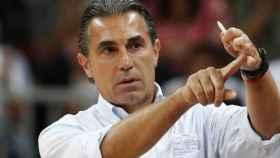 Sergio Scariolo, durante un partido con la Selección