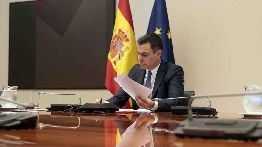 El jefe del Ejecutivo, Pedro Sánchez, en la videoconferencia de presidentes autonómicos.