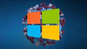 Fotomontaje con el coronavirus y el logo de Windows
