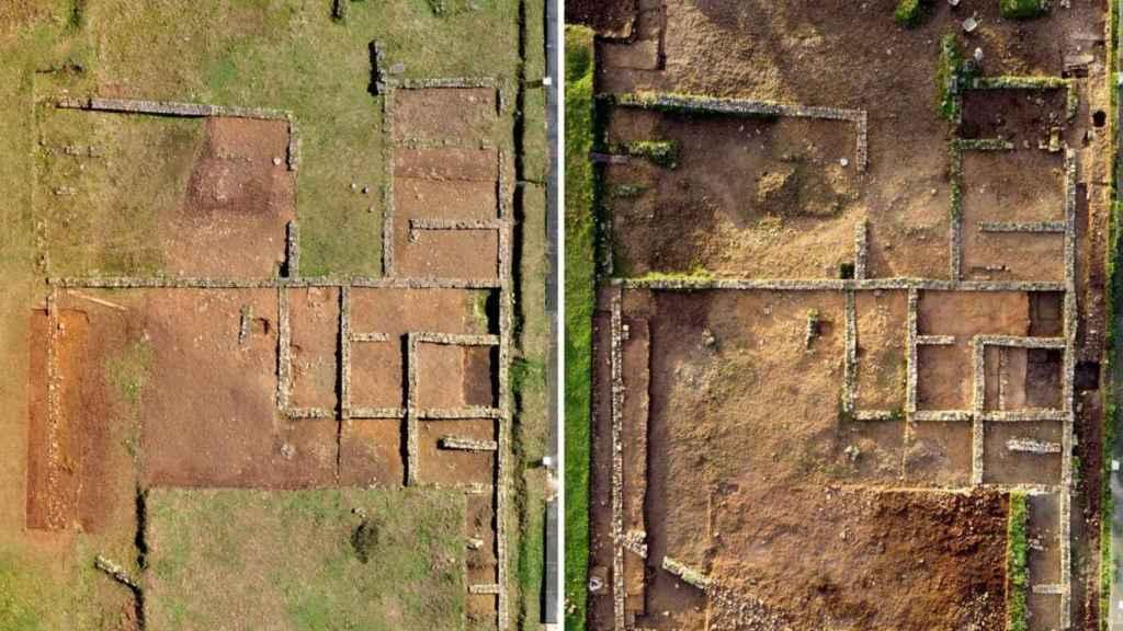 Vista aérea del yacimiento antes y después de la última intervención.