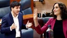 Pablo Gómez Perpinyà (Más Madrid) e Isabel Díaz Ayuso (PP) en un montaje.