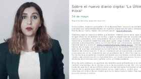 Dina Bousselham, directora de 'La Última Hora!', y el correo de Podemos a los usuarios de su web.