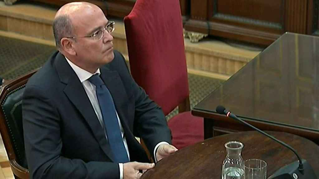 El coronel Diego Pérez de los Cobos, testificando en el juicio del 'procés' en el Supremo.