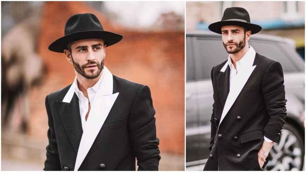 Pelayo Díaz en un montaje de JALEOS luciendo el sombrero de ala ancha.