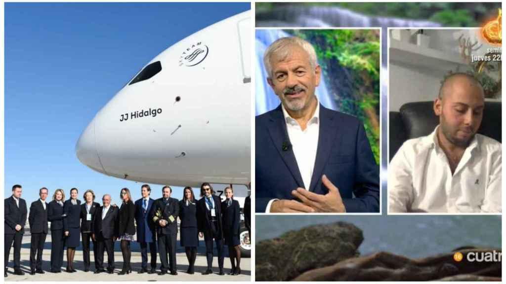 El avión que ha desplazado a los concursantes a España junto a la conexión de Avilés en montaje de JALEOS.