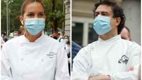 Samantha Vallejo-Nágera y Pepe Rodríguez en montaje de JALEOS a las puertas del Congreso.