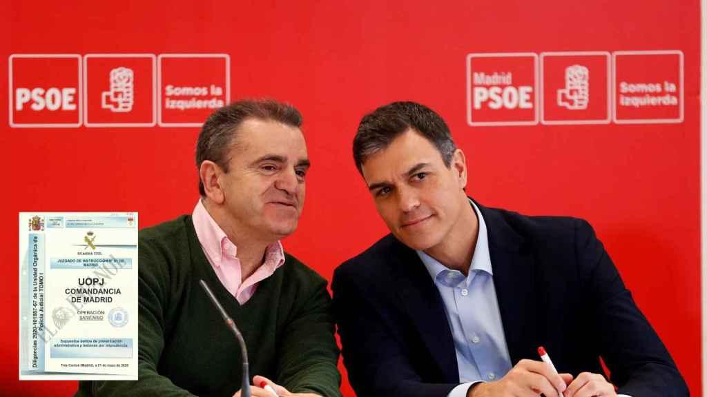El delegado del Gobierno en Madrid, José Manuel Franco, y el presidente del Gobierno, Pedro sánchez, junto a la portada del informe de la 'operación Sanitario'.
