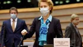 La presidenta Ursula von der Leyen, durante su última comparecencia en la Eurocámara el 13 de mayo