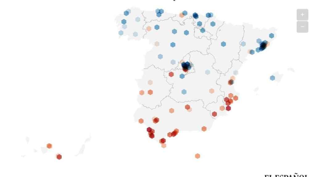Mapa de los municipios más ricos y más pobres.