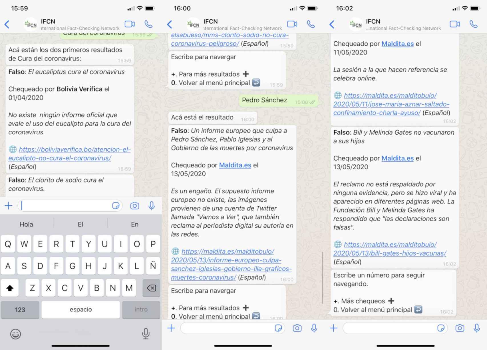 El bot de WhatsApp responde a términos como 'Pedro Sánchez' mostrando bulos