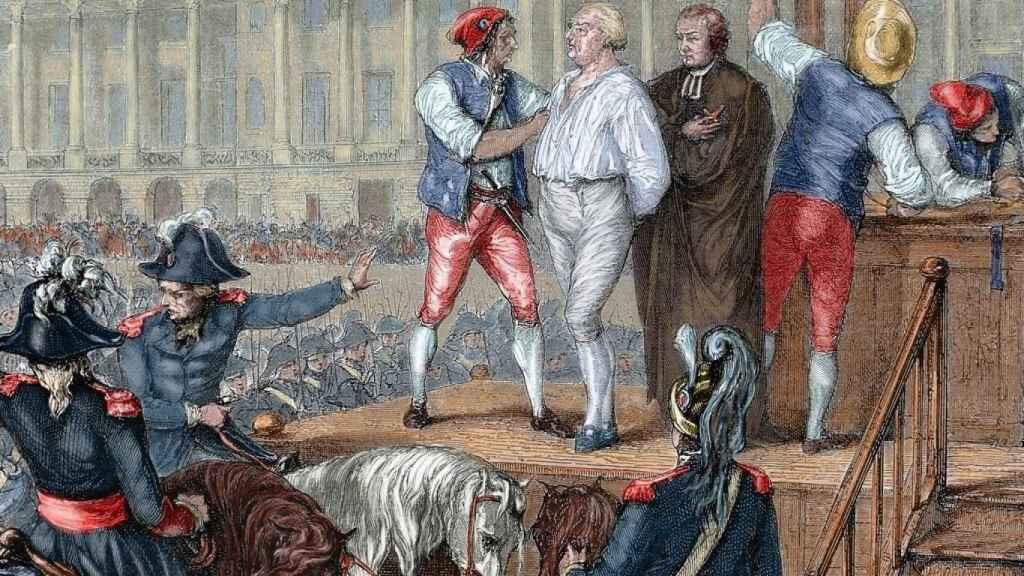 Ejecución de Luis XVI (1754-1793) el 21 de enero de 1793. Grabado en color.