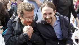 Francisco Javier Iglesias y su hijo, Pablo Iglesias, vicepresidente segundo del Gobierno.