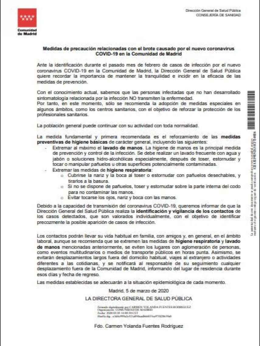 Documento de 5 de marzo de la directora de Salud Pública del Gobierno de Madrid./