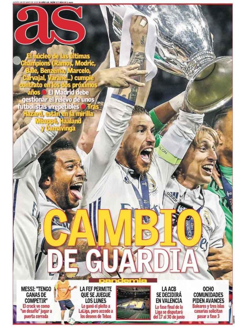 La portada del diario AS (28/05/2020)