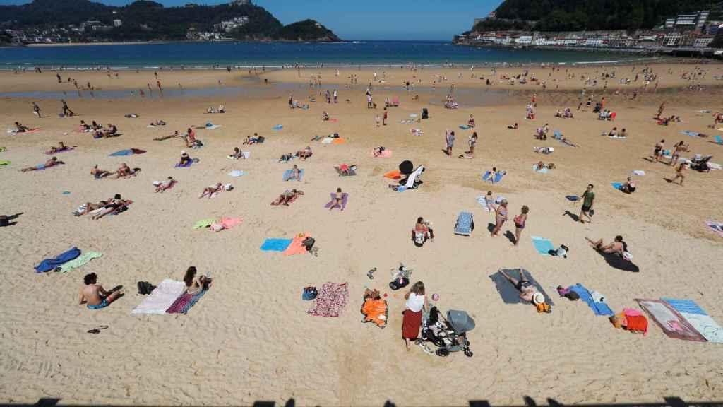 Vista este miércoles 27 de mayo de la playa de La Concha de San Sebastián.
