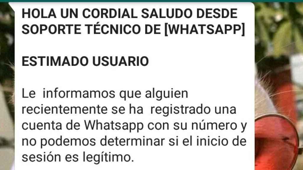 Mensaje engañoso en WhatsApp