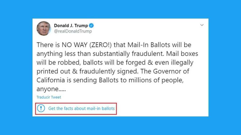 Twitter marca como engañoso un tuit de Trump por primera vez