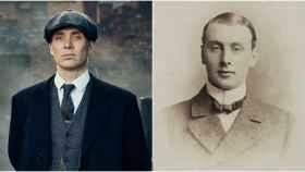 Thomas Shelby (izquierda), el personaje que nace de Billy Kimber (derecha).