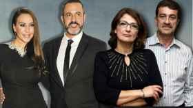 Mónica Naranjo, Óscar Tarruella, Santina D'Alessandro y Pipo Biondo en un montaje de Jaleos.