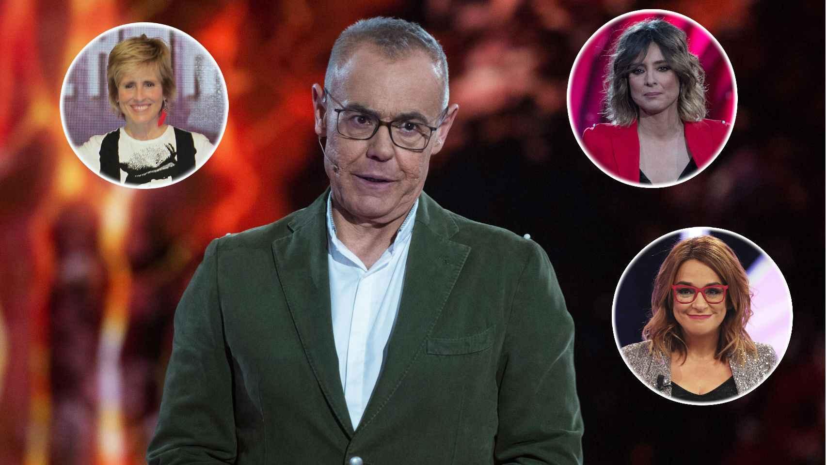 Jordi González junto a Mercedes Milá, Sandra Barneda y Toñi Moreno en montaje de JALEOS.