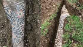 El mosaico romano desenterrado en la localidad italiana.
