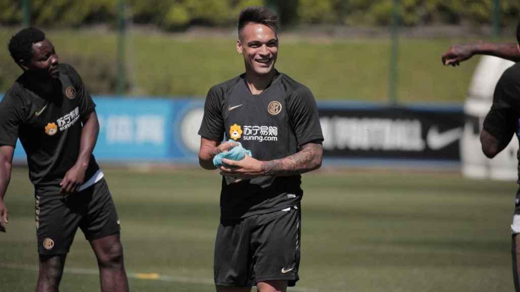 Lautaro Martínez, durante un entrenamiento del Inter