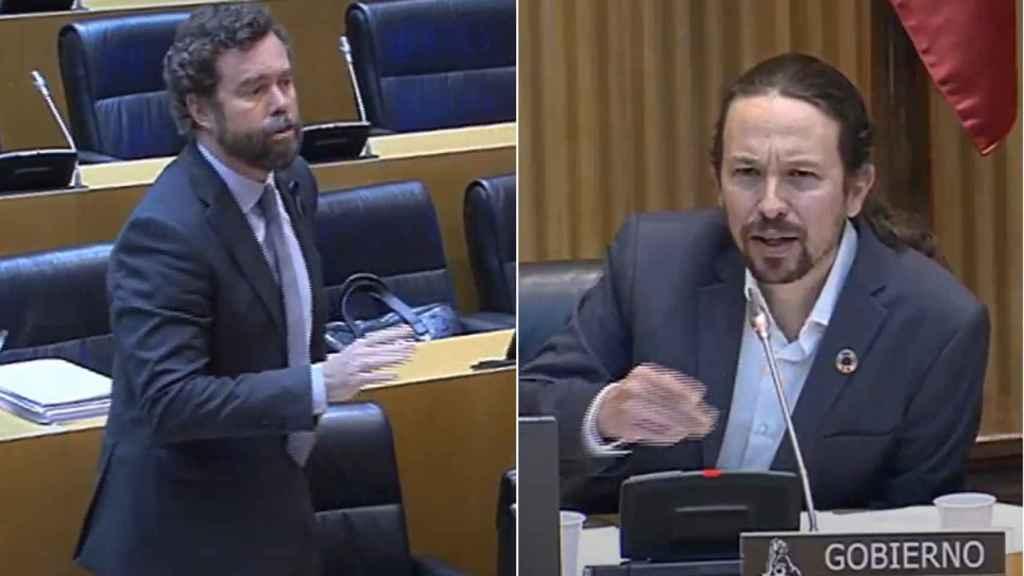 Iván Espinosa de los Monteros y Pablo Iglesias en plena discusión en el Congreso.