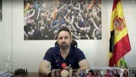 Santiago Abascal durante el encuentro telemático con los jóvenes de Vox.