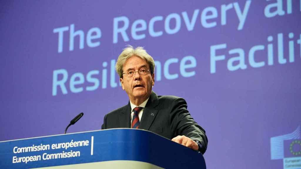 El comisario de Asuntos Económicos, Paolo Gentiloni, durante la rueda de prensa de este jueves
