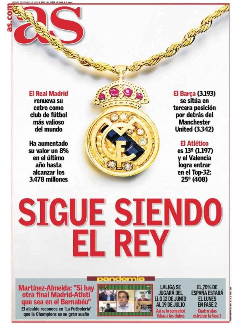 La portada del diario AS (29/05/2020)