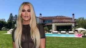 Khloé Kardashian en un montaje de JALEOS frente a la casa que ha puesto a la venta.