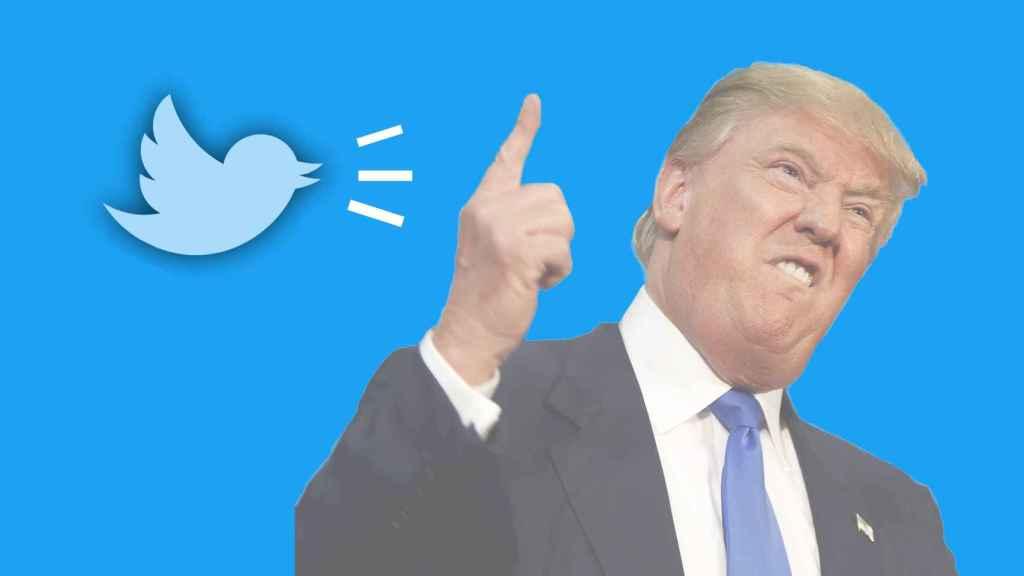 Fotomontaje con Trump y el logo de Twitter