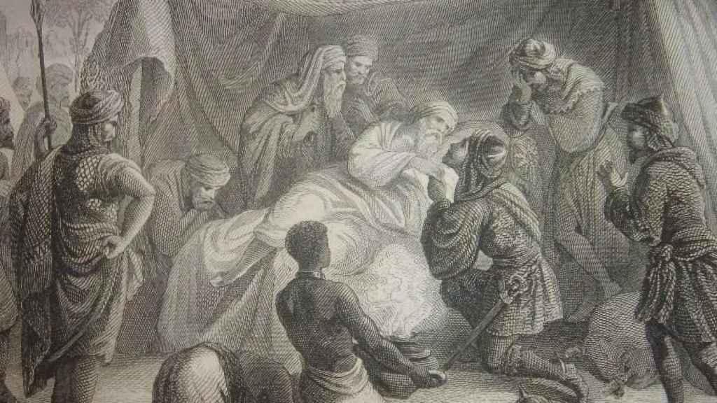 Grabado del siglo XIX que representa la muerte de Almanzor.