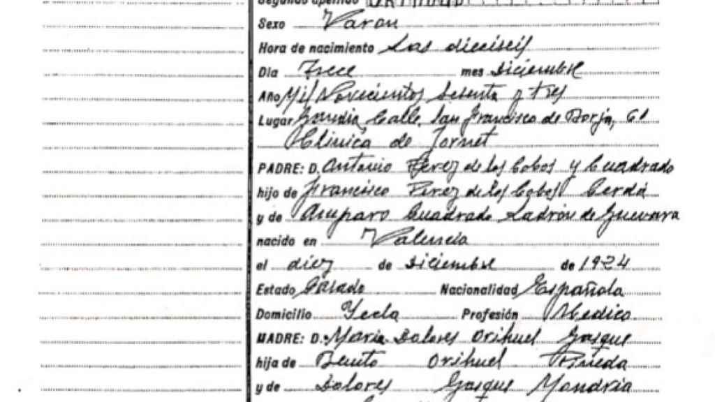 Partida de nacimiento de Diego Pérez de los Cobos.