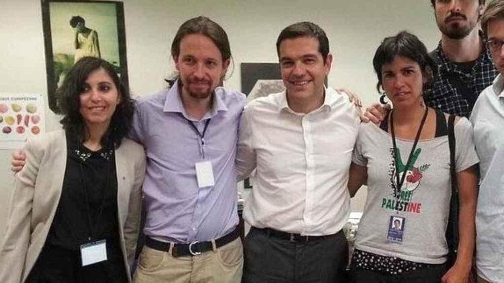 De izquierda a derecha: Dina Bousselham, Pablo Iglesias, Alexis Tsipras y Teresa Rodríguez.