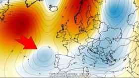 La DANA situándose sobre España el lunes 1 de junio 2020. Severe-weather.eu.