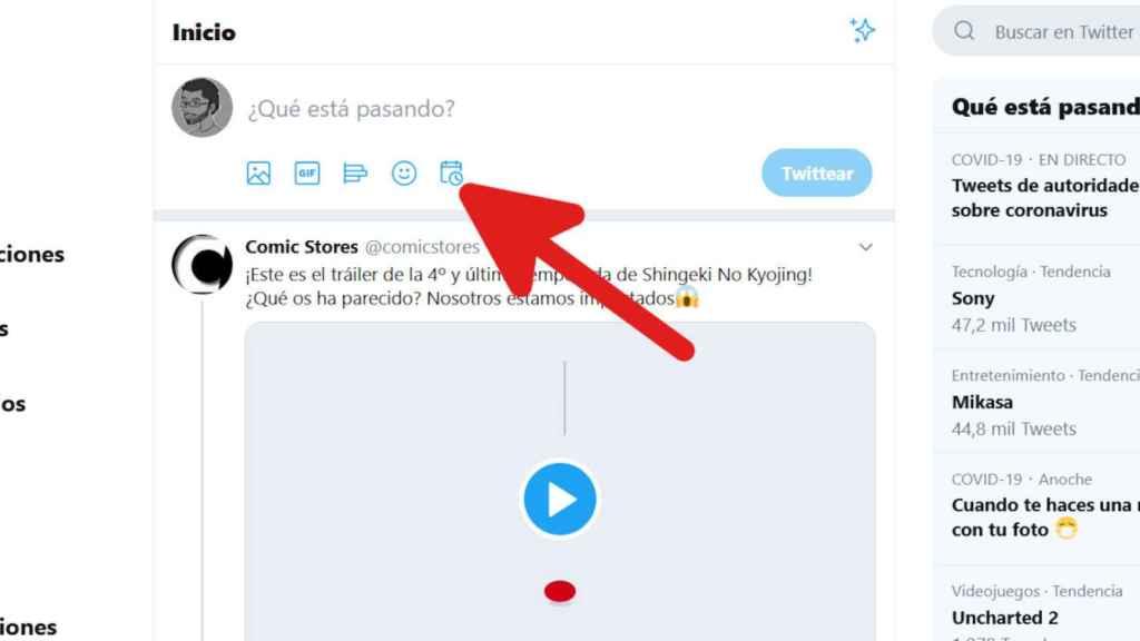 Botón para programar mensajes en Twitter