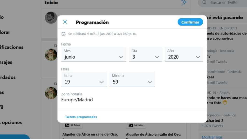 Ventana de programación de mensajes en Twitter