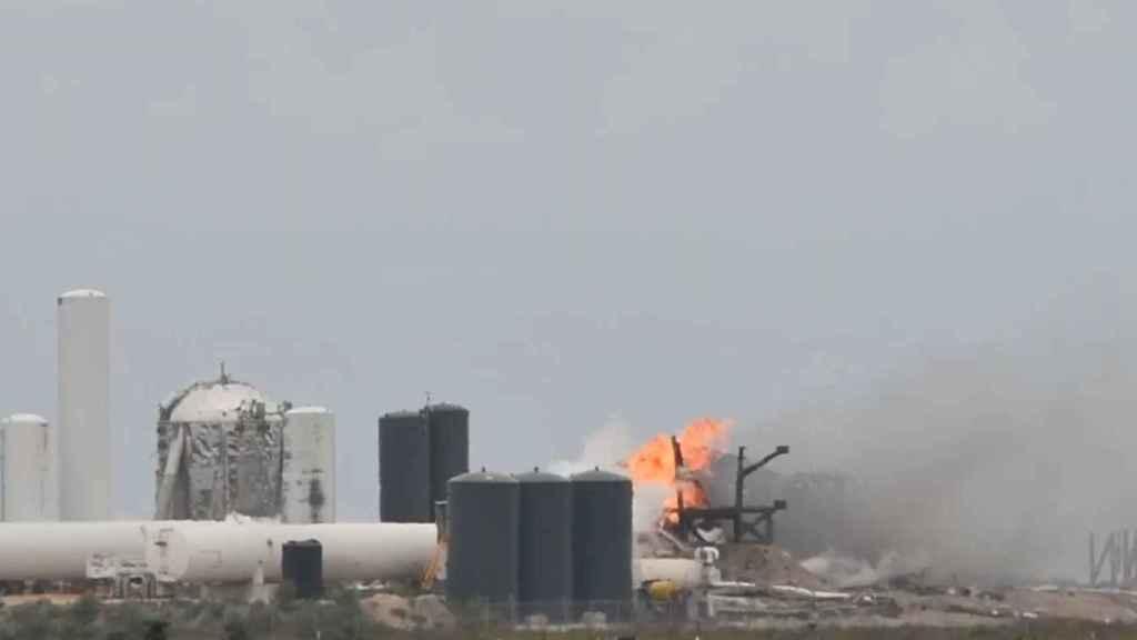 Estado de la plataforma después de la explosión del cohete de SpaceX