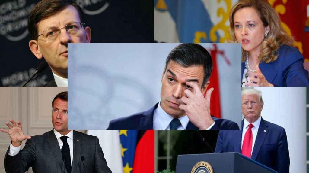 Vittorio Colao, Nadia Calviño, Pedro Sánchez, Emmanuel Macron y Donald Trump.