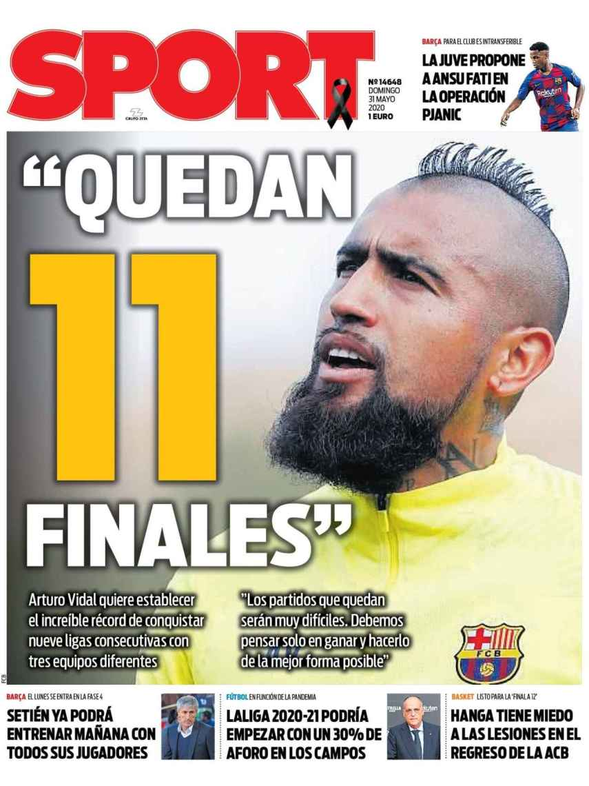 La portada del diario Sport (31/05/2020)