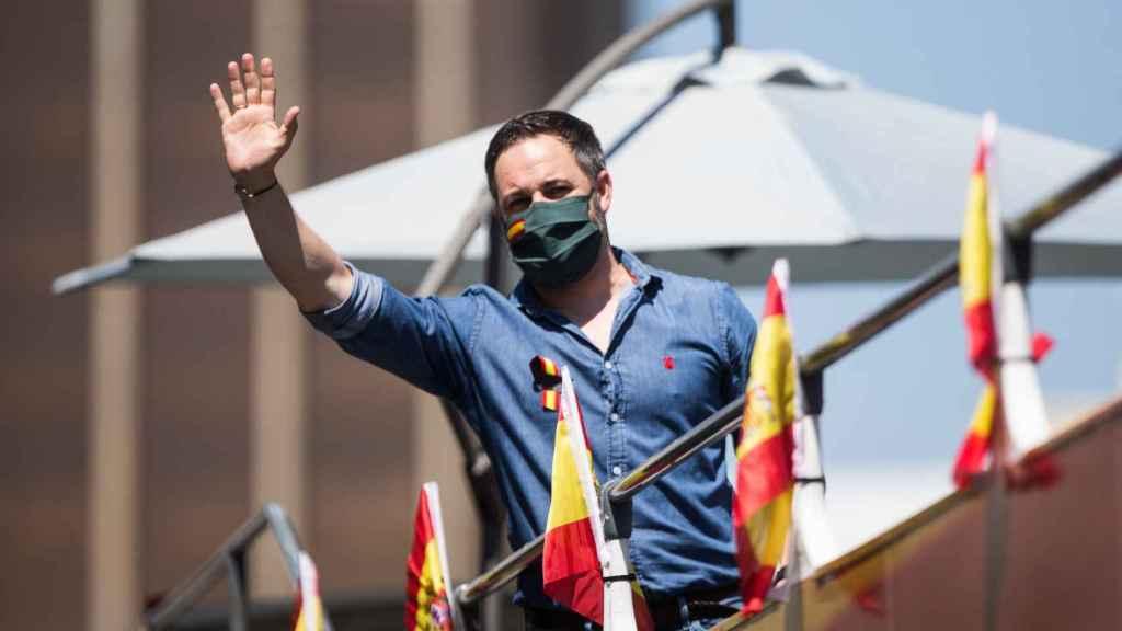 Santiago Abascal, presidente de Vox, en la manifestación contra el Gobierno en Madrid.
