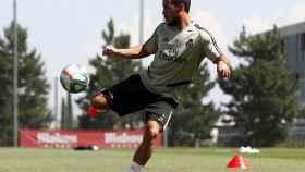 Eden Hazard, durante un entrenamiento de esta semana