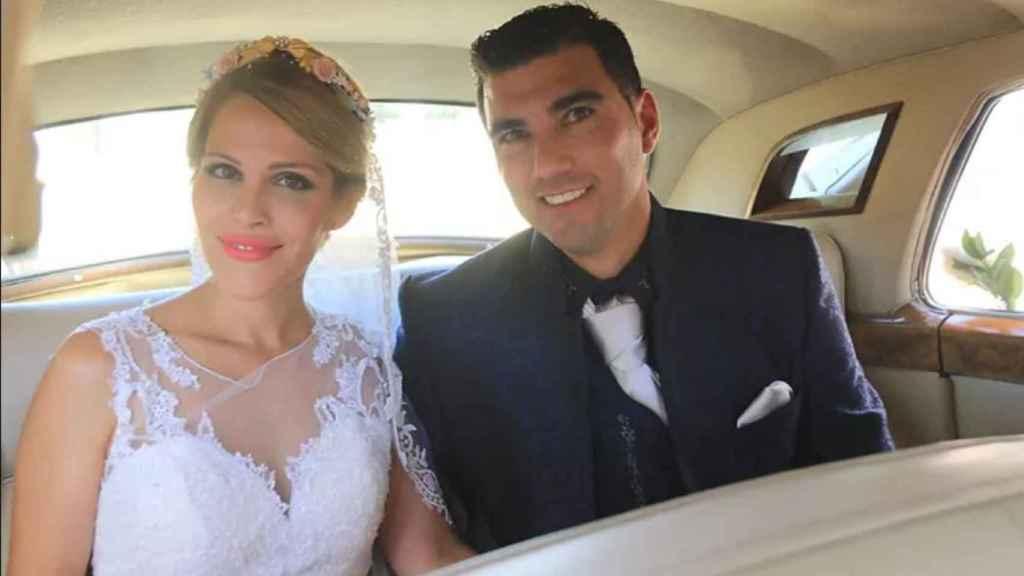 Noelia López y José Antonio Reyes, en el día de su boda.
