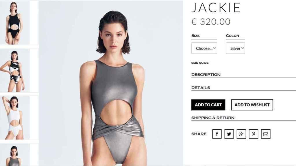Captura de la página web de Moeva en el momento de la compra del bañador.