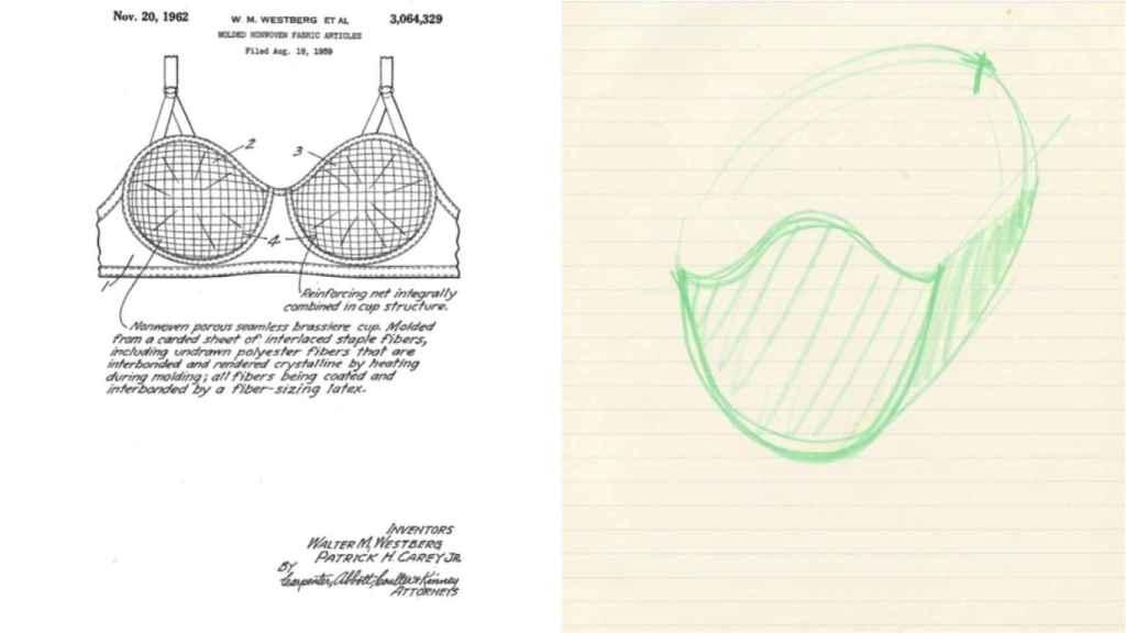A una lado la patente del sujetador y al otro, el diseño de mascarilla que hizo Sara Little.
