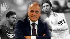 Javier Tebas, Leo Messi y Sergio Ramos